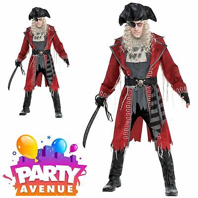 Mens Zombie Hook Pirate Captain Costume Blackbeard Jack Halloween Fancy Dress