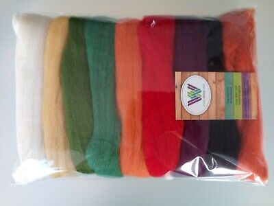Autumn* Merino Wool Tops for felting 9 colours White Yellow Red Green, set 90 g