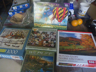 Lot of 7 Puzzles~5 Various Brand Jigsaw~500 to 1500 Pieces ea Plus 2 WoodPuzzles