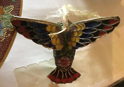 Multicolor Cloisonne Enamel Bird Hummingbird Figurine Statue Ornament Decoration