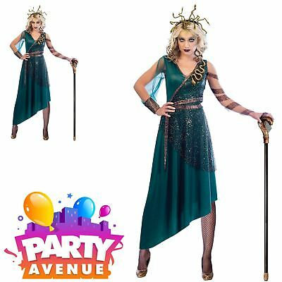 Adult Medusa Costume Ladies Serpentine Greek Myth Goddess Halloween Fancy Dress