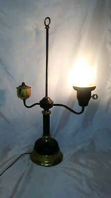 Vintage Single Arm Brass Student Lamp Electric in Colonial Oil Style Rusty Works