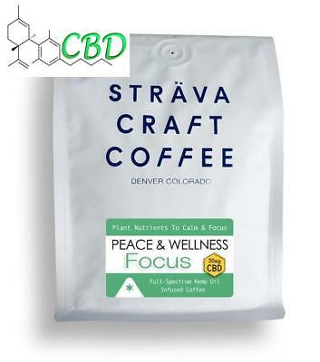 * Hemp Oil Infused Whole Beans Coffee Strava Focus Inflammation & Pain Anxiety *