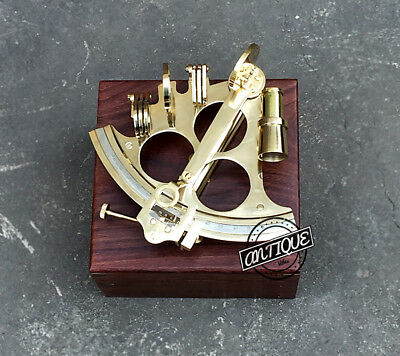 """Nautical Marine Brass 6"""" Sextant - With Wooden Box - Marina Ship Travelling Haul"""