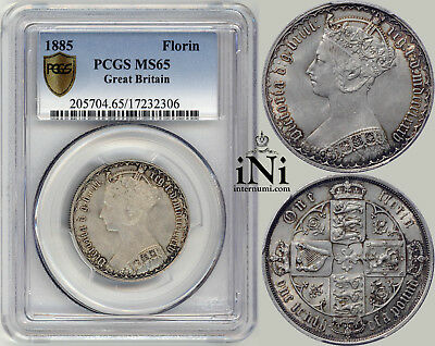 iNi  Great Britain, Victoria, Gothic Florin 1885, TOP POP, PCGS MS 65