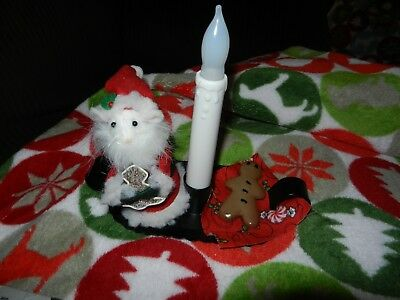 Byers Choice Santa Mouse Gingerbread Cookie and Candlestick Nightlight NEW
