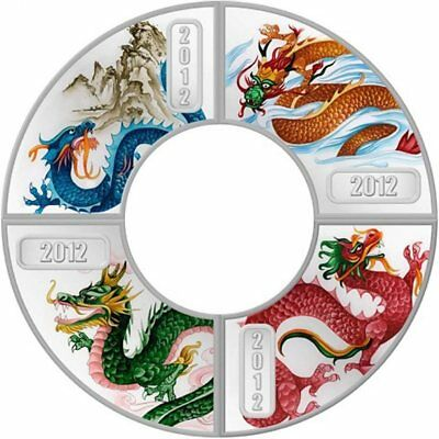 2012 Cook Islands Year of the Dragon 4 x 1/2oz Proof Colour. 999 silver coin set