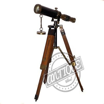 Brass Telescope with Wooden Tripod Stand Vintage Marine Light House Scopes Desig