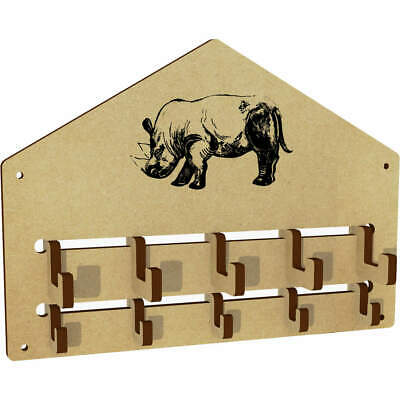 'Sketched Style Rhino' Wall Mounted Coat Hooks / Rack (WH00024964)