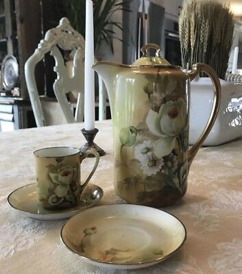 Vintage Nippon Japanese Porcelain Chocolate/Coffee Pot W/ 1 Cup 2 Saucers