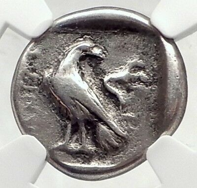 ITANOS Crete 330BC Authentic Ancient Greek Silver Coin w ATHENA EAGLE NGC i72406