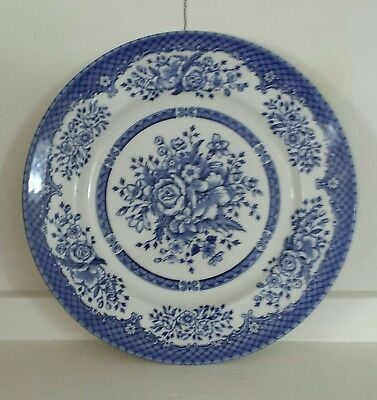 """Wood & Sons Blue & White Transferware Floral Bouquet Dinner Plate 10 1/4"""""""