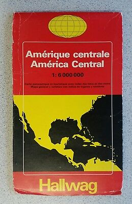 Central America Map in French & German - Large, Vintage, Folding Map by Hallwag