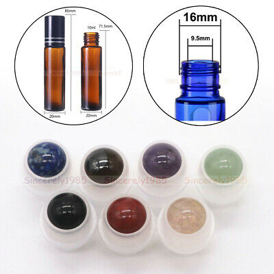Natural Gemstone Roller Ball for 5ml 10ml THICK Essential Oils Roll on Bottles