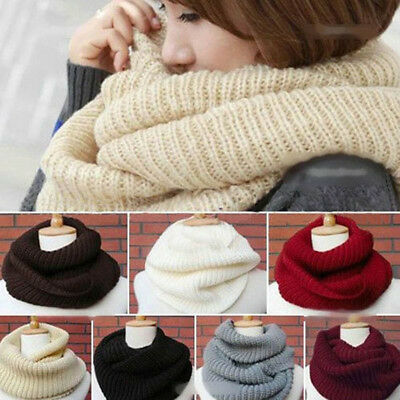 Circle Winter Scarf Solid Color Thick Cowl Loop Wrap Women's Knit Infinity Scarf