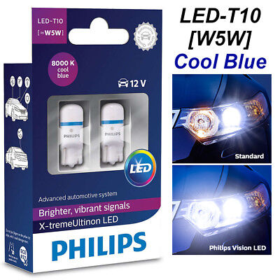 PHILIPS W5W LED 8000K T10 Xtreme Ultinon 360° Cool Blue Car Bulbs 127998000KX2