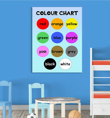 Boys Colour Chart Childrens Basic Learn Wall Chart Educational Childs Poster