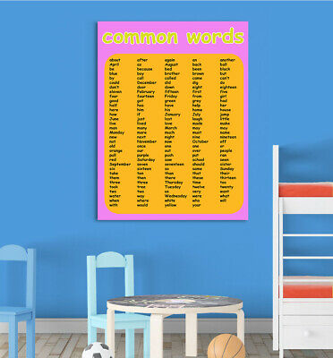 Girls Common Words Children Educational Poster Chart School Home Learn All Sizes
