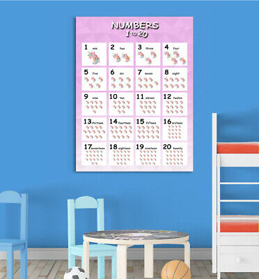Numbers (1-20) Violet Children Learning Educational Poster Wall Chart Nursery