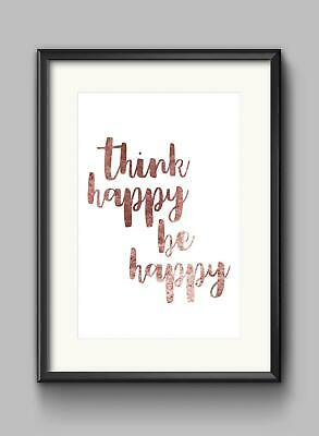 Think Happy Be Happy Motivational Inspirational Quote Poster Print Wall Art