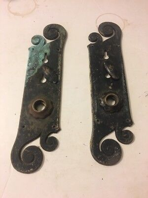 Pair of Art Nouveau Arts & Crafts Door Lock Handle Plate Antique Victorian Swirl