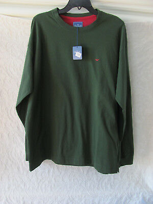 Faconnable Long Sleeve Crew Neck T-Shirt-Stretch-Hunter Green- Men's 2XL- NWT