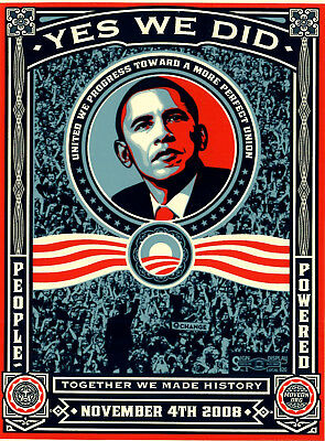 """Shepard Fairey BARACK OBAMA """"Yes We Did"""" Sticker 4.5"""" x 6""""-New-2008 Election"""