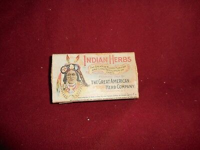 "Vintage ""Indian Herbs"" Great American Herb Company Blood Purifier 1906"