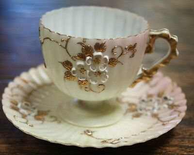 Crown Milano Mt Washington Glass Co Demitasse Cup & Saucer Ribbed Footed