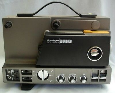 SANKYO SOUND 600 - SUPER 8 SOUND MOVIE PROJECTOR with Stand and Screen