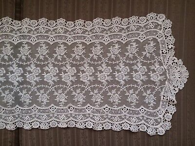 """Antique Embroidered Tambour Net Lace Table Runner / Dresser Scarf (41""""x13"""")"""