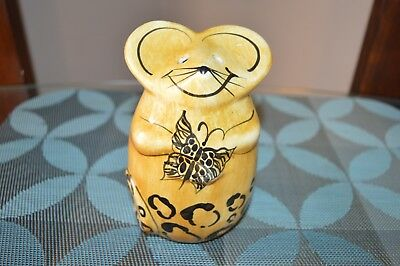 Laurie Gates Ceramic Grated Cheese Shaker Cute Mouse w/ Butterfly Cheetah Print