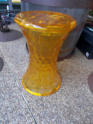 1970's RARE UNUSUAL VINTAGE/RETRO YELLOW CLEAR PLASTIC STOOL SEAT or PLANT STAND