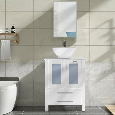24 Inch Bathroom Cabinet White Vessel Sink Modern Vanity W Faucet Mirror Combo