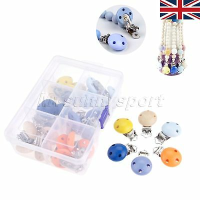 30PC Wooden Teether Dummy Clip Baby Nursing Accessories Pacifier Clasps UK STOCK