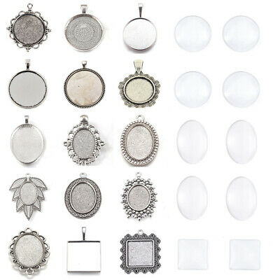Alloy Pendant Settings Bezel Tray Pendant Blanks With Glass Cabochons Cover