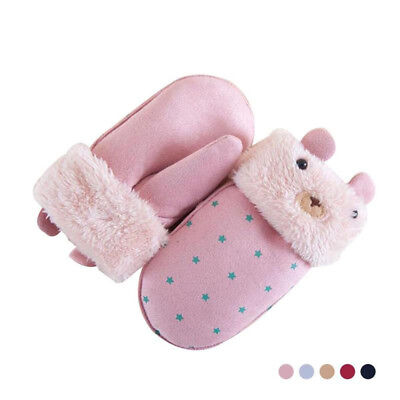 Gifts Glove Warmer Suede Shaped Lovely Printed Children Kids Gloves Winter
