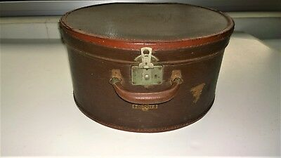 Vintage Brown Leather Hat Box - Antique Photography Prop / Display - 40cm