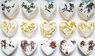 30 x BATH BOMB FLORAL ESSENTIAL OIL HEARTS - WEDDING FAVORS OR HOME USE