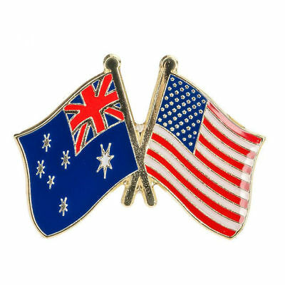 AUSTRALIA & USA FRIENDSHIP FLAG Enamel Pin Badge Lapel Brooch Gift PN9