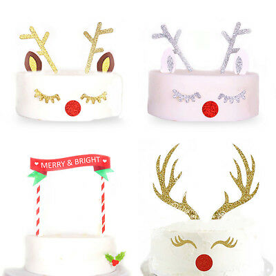 Reindeer Cake Toppers Merry Christmas Xmas Decorations Party Supplies