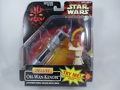 Star Wars Episode 1 Deluxe Obi-Wan Kenobi Lightsaber Swinging Action Moc