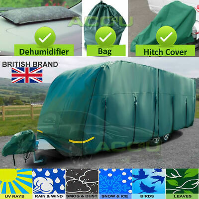 Maypole MP9536 23-25ft Breathable 4 PLY GREEN Caravan & Hitch Cover + DeMister