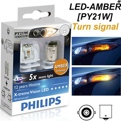 X2 Philips PY21 W LED Xtreme Ultinon  Amber Inturn Signal Light car 1156 12764X2
