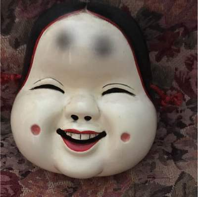 Vintage Japanese Wooden Hand Carving Sculpture Traditional Mask Noh Otafuku E7