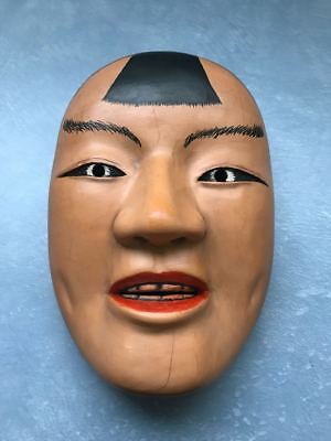 Vintage Japanese Wooden Hand Carving Sculpture Traditional Mask Noh Kasshiki E9