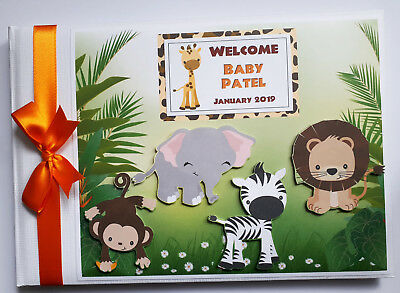 Safari / Jungle Animals Birthday / Baby Shower Sign In Guest Book - Any Design
