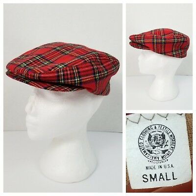 Vintage Union Made S Flat Cabbie Ivy Newsboy Cap Hat Stewart Red Tartan 21""