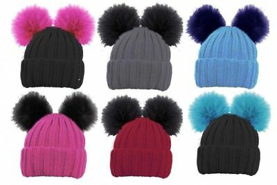 b031b35bfe6780 Kids Childrens Winter Cosy Twin Faux Fur Double Pom Pom Bobble Lined Beanie  Hat