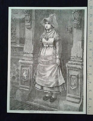 "1876 Centennial Exposition Print - ""Normandy Girl in a Shower"", Geo. H. Boughton"
